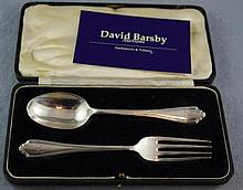 George V sterling silver Christening set Spoon &