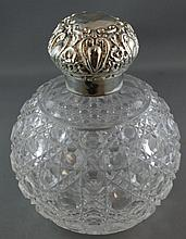 Ladies crystal scent jar with sterling silver lid