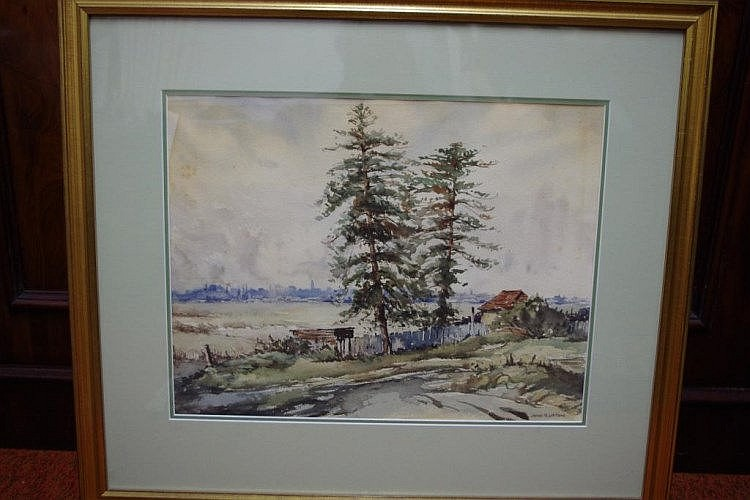 John R Upton (1892?) untitled Watercolour. Signed