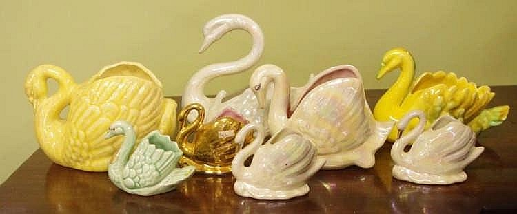 Eight Australian Pottery Swan Vases To Include Wembley And P
