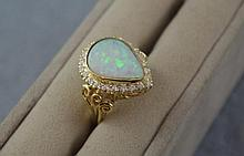18ct gold, Australian solid opal & diamond ring
