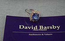 14ct white gold, diamond & square tanzanite ring