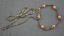 9ct white gold pearl & coral bracelet together