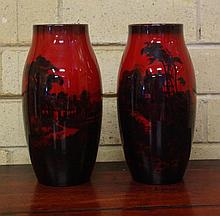 Two Royal Doulton Flambe vases signed Noke,
