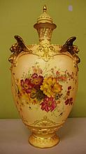 Large Royal Worcester blush ivory lidded urn with