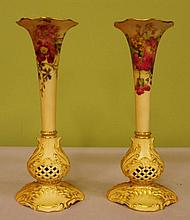 A pair of Royal Worcester blush ivory vases Approx