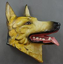 Crown Devon dog head wall figure German Shepherd,