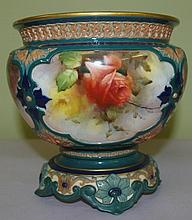 Hadley's Royal Worcester jardiniere hand painted