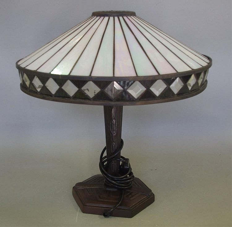 Leadlight Electric Table Lamp H43cm Approx