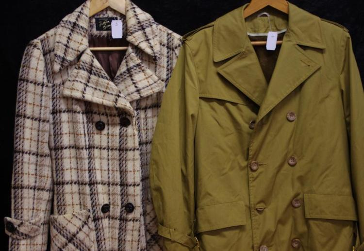 Khaki Colour Trench Coat, Brown Check Winter Coat