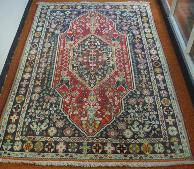 Middle Eastern Wool Rug With Red And Dark Green Tones 240
