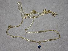 9ct yellow gold necklace with sapphire pendant