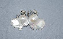 Pair large baroque pearl earrings with sterling