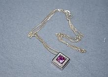 Silver and pink topaz pendant
