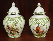 Pair of vintage lidded urns decorated with birds,