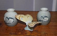 Royal Copenhagen miniature vases together with a