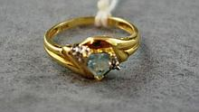 14ct gold and aquamarine marine heart shaped