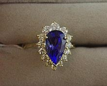 14ct yellow gold diamond & pear cut tanzanite ring