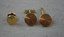 Retro 9ct yellow gold cufflinks & dress studs
