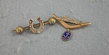 Two silver brooches one hallmarked Birmingham, one