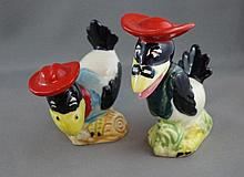 Pair vintage novelty pottery birds possibly Heckle