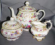 Bavarian porcelain teapot & sugar bowl by