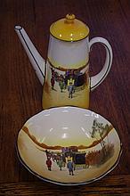 Royal Doulton Coaching Days chocolate pot & bowl