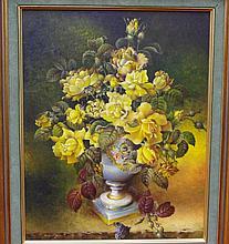 Robert Cox ( working 1970s-80s) Yellow Roses Oil