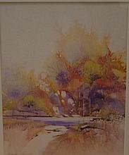 George Largent ,Country Puddle Watercolour. Signed