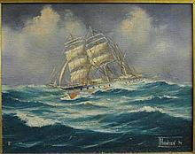Ian Hansen (1948-) Barque Kilmeny Oil on board.