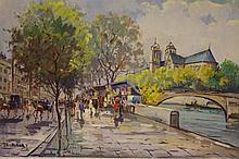 De Fleury A ( French 20th century) Parisian scene