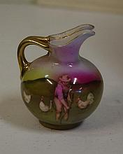Miniature Royal Bayreuth farmer/chickens pitcher
