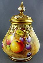 Royal Worcester handpainted pot pouri jar handed
