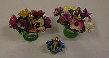 Three Crown Staffordshire floral baskets Two