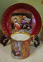 Royal Vienna demitasse cup & saucer signed 'Sibel'
