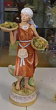 Royal Dux fruit seller figure 39 cm tall. Applied