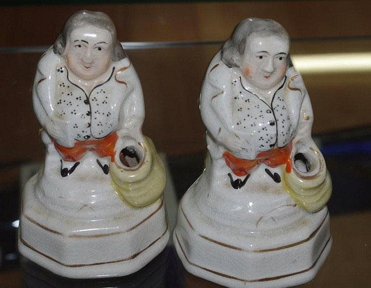 Two Antique Staffordshire inkwells / penholders in
