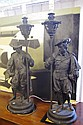 Pair of large spelter figural lamps 89cm high