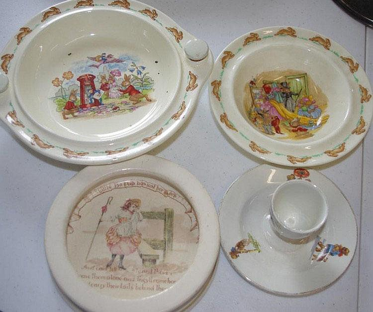 Two Royal Doulton Bunnykin plates with two other