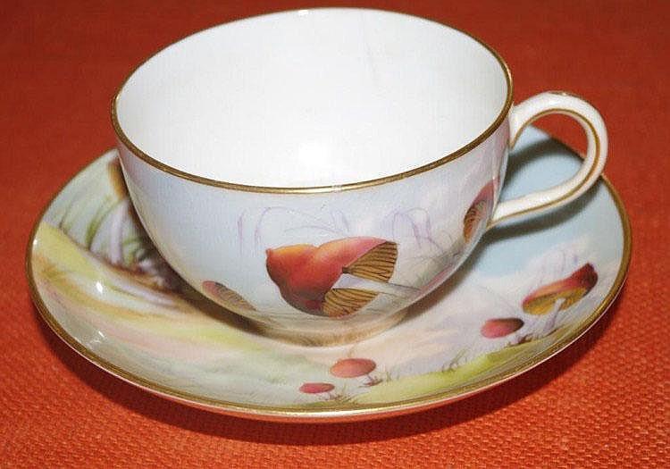 Royal Worcester mushroom cup & saucer cracks