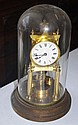 Vintage German 400 day clock in glass dome case,