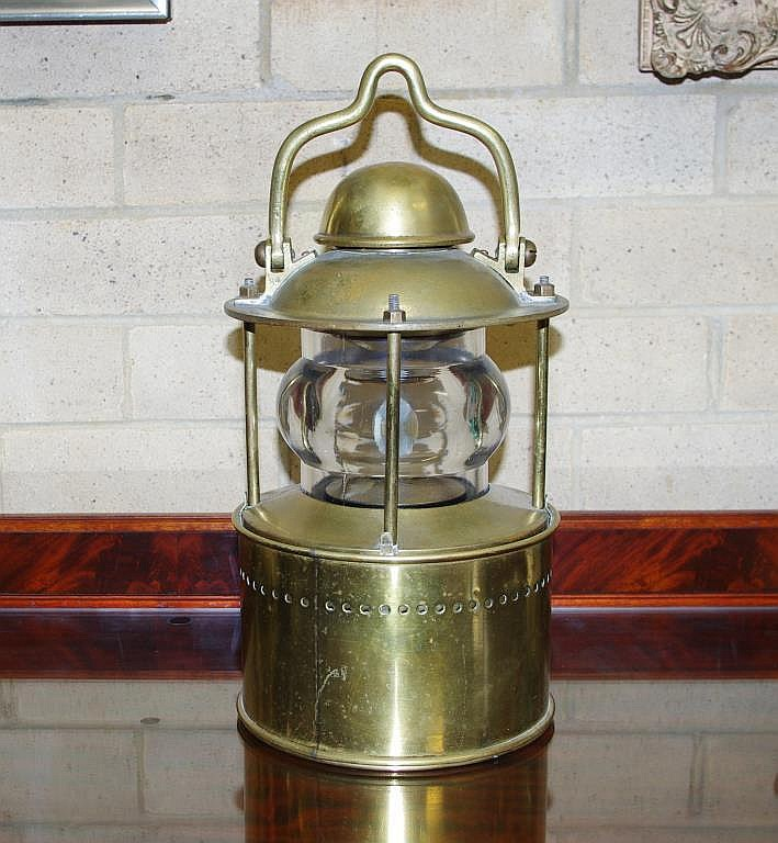 Antique 19thC brass ships candle lantern / lamp with magnify