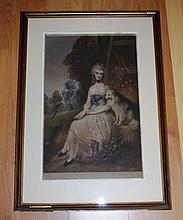 """Fred Millar, """"Portrait of lady with dog"""" 19th century engraving, signed low"""