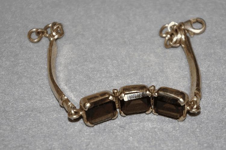 Silver bracelet with smokey topaz