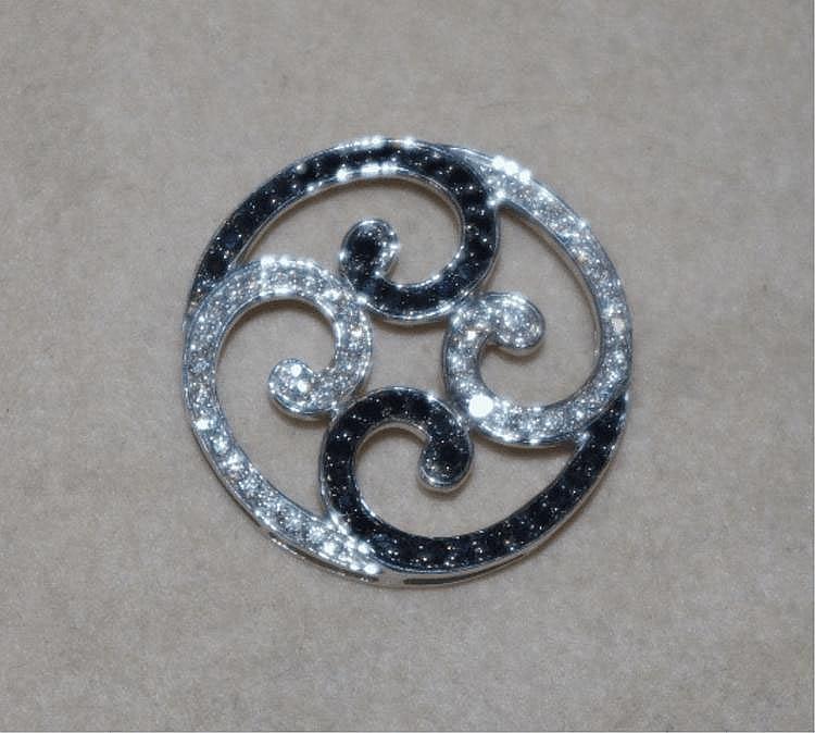 9ct white gold black & white diamond pendant