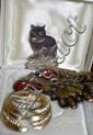 Silver cat brooch with an eagle brooch and a boxed