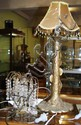 Art Nouveau style lamp with 2 crystal drop lamps