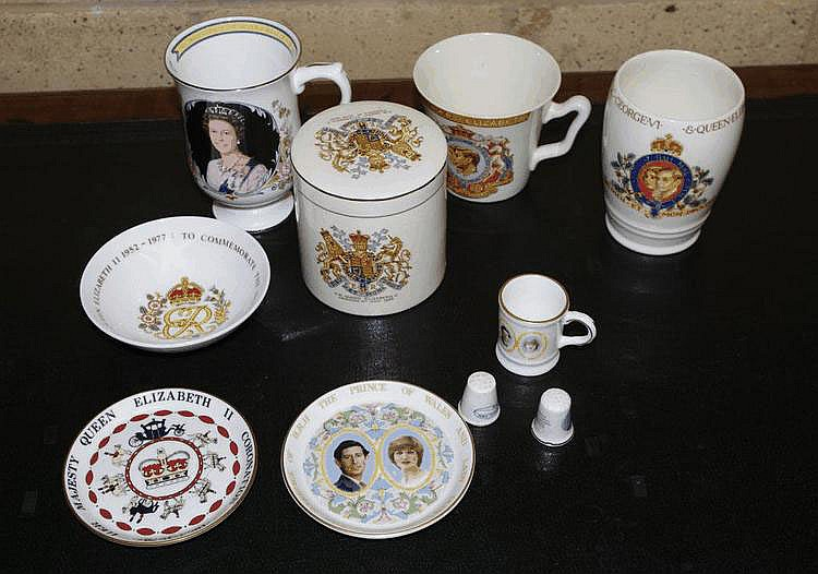 Four Royal commemorative mugs, a canister, with