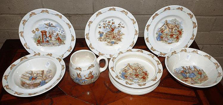 Seven Royal Doulton Bunnykins items 2 bowls & a
