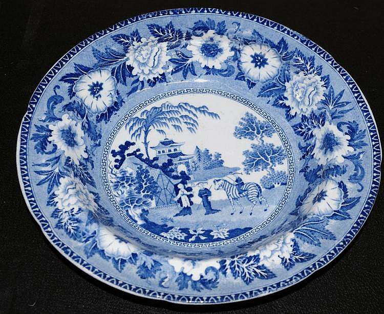 Staffordshire blue transfer ware zebra bowl by